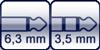 Klinke 2p. 6,3 mm<br>Klinke 3p. 3,5 mm