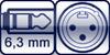 Klinkenbuchse 3p. 6,3mm <br>XLR 3p. male