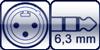 XLR 3p male<br>Klinke 3p. 6,3mm
