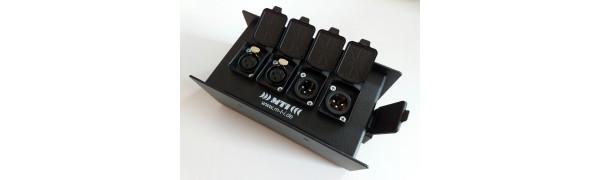 MTI ETHERNET/DMX-Splitbox Neutrik CAT5e/ 2x XLR-3p. fem./male, schwarz