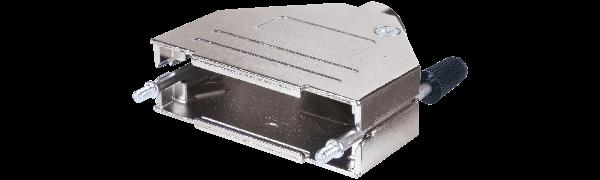 Sub-D25-pol. Vollmetall-Haube EMV, 12,5 mm