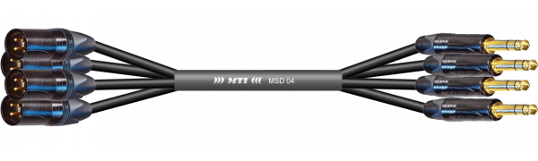 MTI First Class Digital-Loom, XLR-male/Klinke 3p., 4 Ch., sw, gold