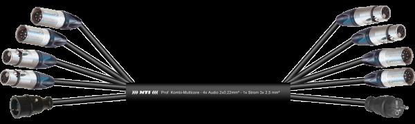MTI Prof. DMX-Kombi-Core, 4x XLR-fem./male 5p., Schukobu./Stecker VG