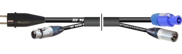 MTI Prof. Kombi-Core 1x Powercon bl./1x XLR-male auf 1x Schuko St.-VG/1x XLR-fem.