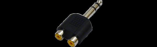 MTI-Adapter, Klinkenstecker 6,3 mm 3-p. / 2x Cinchbuchse