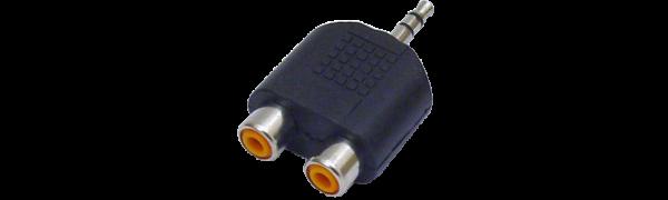 MTI-Adapter, 2xCinchbuchse/1x Miniklinken-Stecker