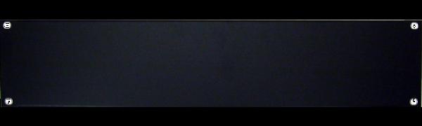 19'' U-Rackblende, 2 HE, Aluminium, schwarz eloxiert