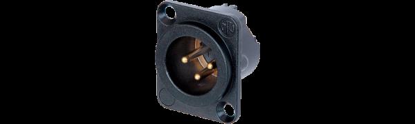 Neutrik XLR-3p.,Einbaustecker,Goldkte.,D-Serie, schwarz