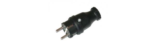 MTI-Schuko-Stecker Vollgummi, SW, 250 V/16A