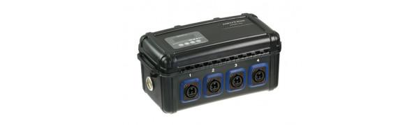 Neutrik opticalCON Breakout Box mit power Monitor, 1x QUAD In, 2x DUO Out, Single Mode PC, blau