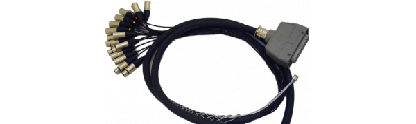 Spliss-Adapter, 12x XLR-male/4x XLR-fem, HAN64 male, 2,5 m