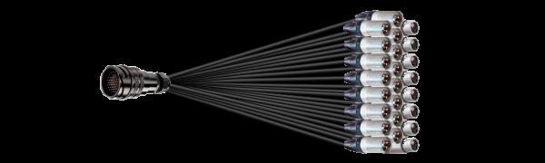 Spliss-Adapter, 16x XLR-male/8x XLR-fem., TL85 male o.Ü., 2,5 m