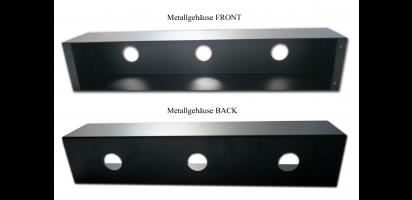 """MTI Metallgehäuse 19"""" 2HE, offen - für Frontplatten u. Panels, schwarz"""