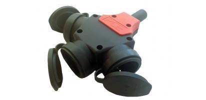 ERSO-Schuko-3-fach-Verteiler Vollgummi, SW, IP44