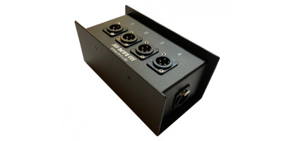 MTI ETHERNET/DMX-Splitbox Neutrik CAT5e/ 4x XLR-3p. male, schwarz