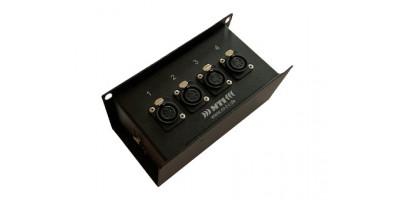 MTI ETHERNET/DMX-Splitbox 2x Neutrik CAT5e/ 4x XLR-5p. fem., schwarz, Link Out