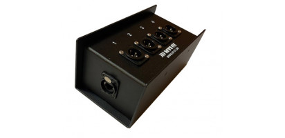 MTI ETHERNET/DMX-Splitbox 2x Neutrik CAT5e/ 4x XLR-3p. male., schwarz, Link Out