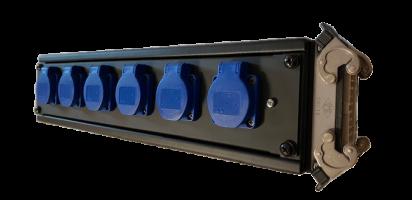 MTI POWER-STAGEBOX, 250 V/16 A, 6x Schuko Einbbu./Klappdeckel IP44, HAN16E-Outp.