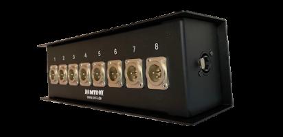 MTI ETHERNET/DMX-Splitbox 2x Neutrik CAT5e/ 4x XLR-3p.male Inp./4x male Outp., Link Out