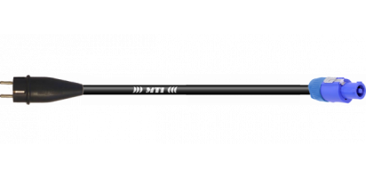 Lastverbindung, Powercon bl./Schukostecker Gummi, 3x 2,5mm²