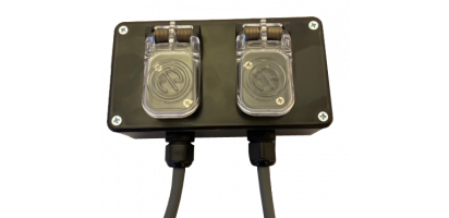 MTI Speaker-Kunststoff-Wallbox schwarz, 2x 4x 2,5 mm², 2x Speakon, IP65-Dichtklappen, 5,0 m