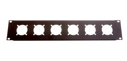 MTI Patch-Panel, 19'' / 2 HE, 6 Bohrungen - Schuko-Einbau-Buchsen