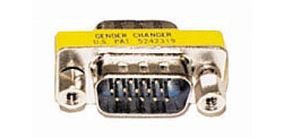 Sub-D15-pol. male/male, Goldkontakt, HD -Genderchanger