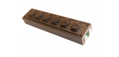 MTI POWER-STAGEBOX, 250 V/16 A, 6x Schuko Einbbu.sw.,1x In-1x Link-In/Out