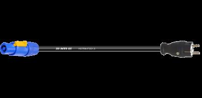 Zuleitung, Schuko St. Gummi/Powercon bl., 3x 1,5mm², IP44