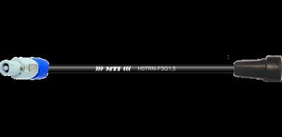 Zuleitung, Schuko Bu. Gummi/Powercon gr., 3x 1,5mm²