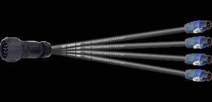MTI Speakercore, 2x4,0 mm², PACOM 8p. male m. Ü., 4x Speakon 4p.