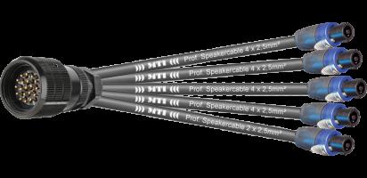 MTI Speaker-Split, 4x 4x2,5 mm², 1x 2x2,5 mm², PACOM 19p.m.Ü./5x Speakon 4p.