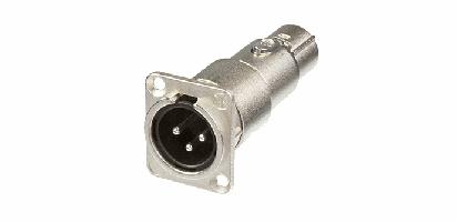 Neutrik Adapter, XLR 3p. Einb.-Stecker-Buchse, D-Serie