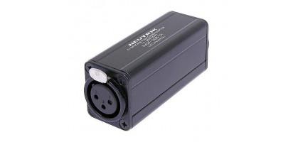 Neutrik Adapter, XLR-fem. 3p., Cinch-Bu., sw., trafosym.