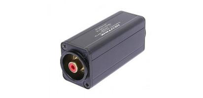 Neutrik Adapter, XLR-male 3p., Cinch-Bu., rot, trafosym.