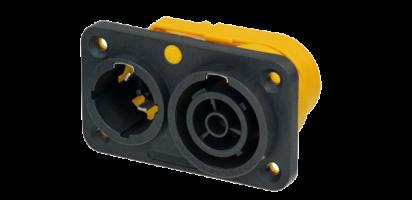 Neutrik powerCON TRUE1, Kombi-Einbbu./Stecker, 6.35 mm Flachsteckzungen