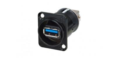 Neutrik USB-Einbau-Durchgangsverbinder,schwarz, 3.0 D-Serie