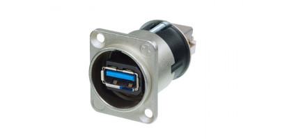 Neutrik USB-Einbau-Durchgangsverbinder, Nickel 3.0 D-Serie