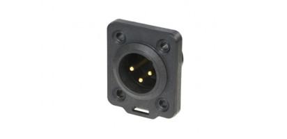 Neutrik XLR-3p.,Einbaustecker Goldkte.,D-Serie, schwarz IP65/UL50E