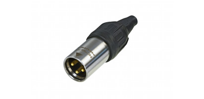 Neutrik XLR-3p.,Kabelstecker Goldkte.,schwarz, IP65/UL50E
