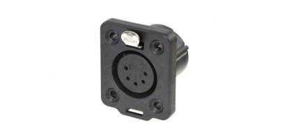 Neutrik XLR5-p.,Einbaubuchse Goldkte.,D-Serie, schwarz IP65/UL50E