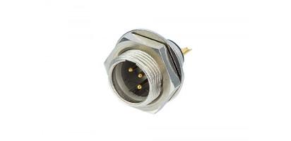 REAN Mini-XLR 4-pol. Einb.-Stecker, Metall, Goldk., Schraubgewinde, 3,0 mm