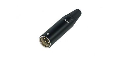 REAN Mini-XLR 4-pol. Kabelstecker, Metall, schwarz, Goldkontakte