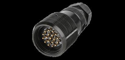 PACOM Kabelstecker 19p., mit Ü.-Mutter bis 2,5 mm², M40